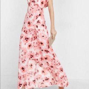 Pink floral, low-cut, flowy Express maxi dress